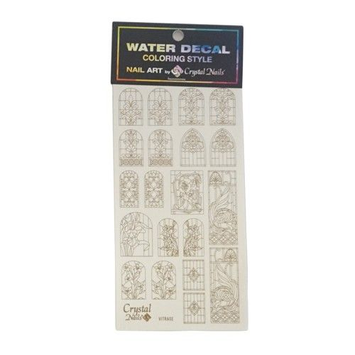 Crystal Nails - Water Decal Coloring Style - Abtibilde pentru Contur Modele - Vitrage Gold