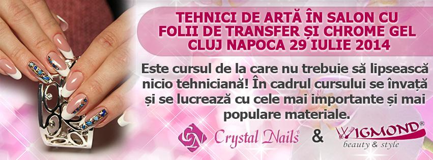 Curs Tehnici de arta in salon cu folii de transfer si Chrome Gel Cluj Napoca 29 iulie 2014