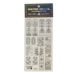 Crystal Nails - Water Decal Coloring Style - Abtibilde pentru Contur Modele - Vitrage Black