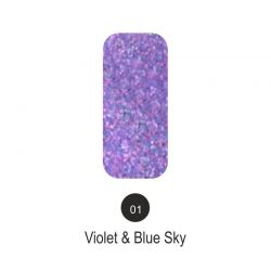 Nailover - Tweed Effect - Violet & Blue Sky - 01