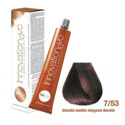 BBCOS- Vopsea de păr Innovation EVO (7/53- Biondo Medio Mogano Dorato)