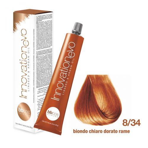 BBCOS- Vopsea de păr Innovation EVO (8/34- Biondo Chiaro Dorato Rame)