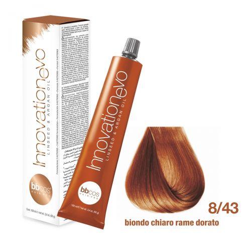 BBCOS- Vopsea de păr Innovation EVO (8/43- Biondo Chiaro Rame Dorato)