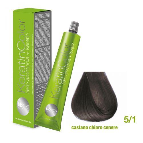 Vopsea de păr Keratin COLOR (5/1- Castano Chiaro Cenere)