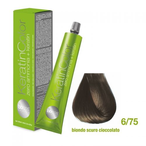 BBCOS - Vopsea de păr Keratin COLOR (6/75 - Biondo Scuro Cioccolato)