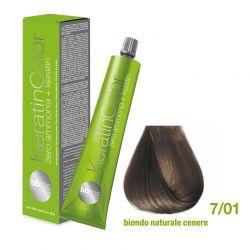 Vopsea de păr Keratin COLOR (7/01- Biondo Naturale Cenere)