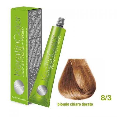 Vopsea de păr Keratin COLOR (8/3- Biondo Chiaro Dorato)