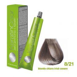 Vopsea de păr Keratin COLOR (8/21- Biondo Chiaro Irise Cenere)