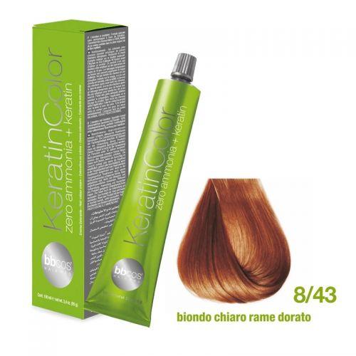 Vopsea de păr Keratin COLOR (8/43- Biondo Chiaro Rame Dorato)
