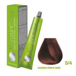 Vopsea de păr Keratin COLOR (5/4- Castano Chiaro Rame)