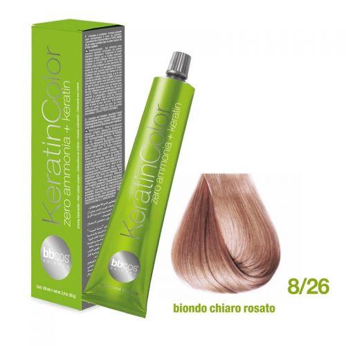 Vopsea de păr Keratin COLOR (8/26 Biondo Chiaro Rosato)
