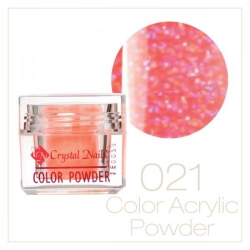 Crystal Nails - Praf acrylic colorat - 21 - Portocaliu deschis cu sclipici  7g