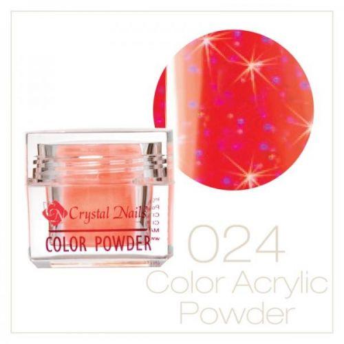 Crystal Nails - Praf acrylic colorat - 24 - Rosu deschis cu sclipici  7g