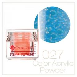 Crystal Nails - Praf acrylic colorat - 27 - Albastru deschis cu sclipici  7g