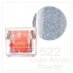 Crystal Nails - Praf acrylic colorat - 522 -  sclipici argintiu marunt brilliant  7g