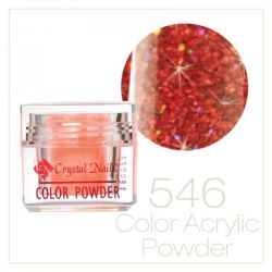 Crystal Nails - Praf acrylic colorat - 546 - Rosu irizat brilliant  7g