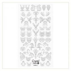 Crystal Nails - Water Decal Coloring Style - Abtibilde pentru Contur Modele - Animals Black