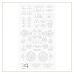 Crystal Nails - Water Decal Coloring Style - Abtibilde pentru Contur Modele - Rococo Silver