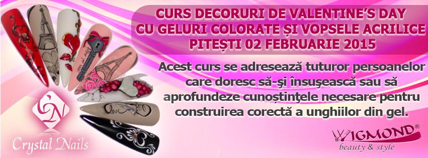 Curs Decoruri de Valentine's Day cu geluri colorate si vopsele acrilice Pitesti 02 februarie 2014