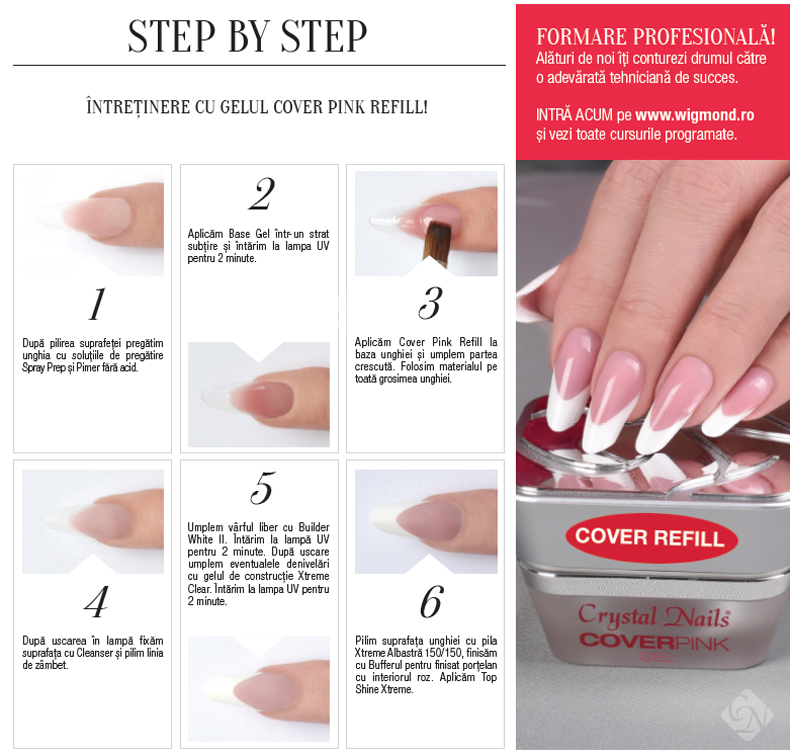 Step by step Intretinere cu gelul Cover Pink Refil
