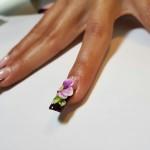 Manichiura French cu Decor Floral din Prafuri Acrylice Colorate